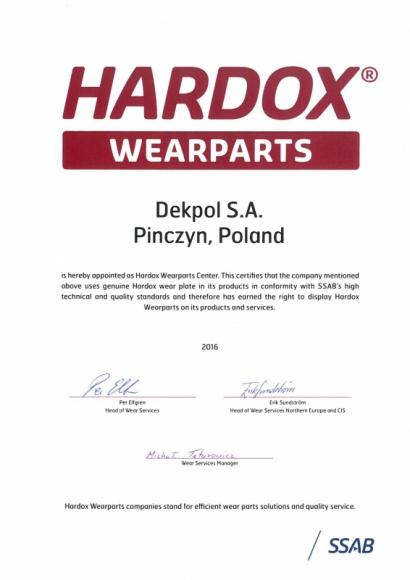 Dekpol dołączył do sieci Hardox Wearparts