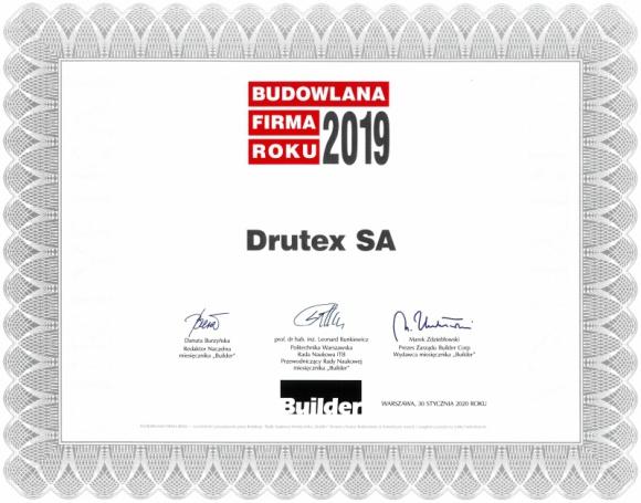 Drutex z tytułem BUDOWLANA FIRMA ROKU